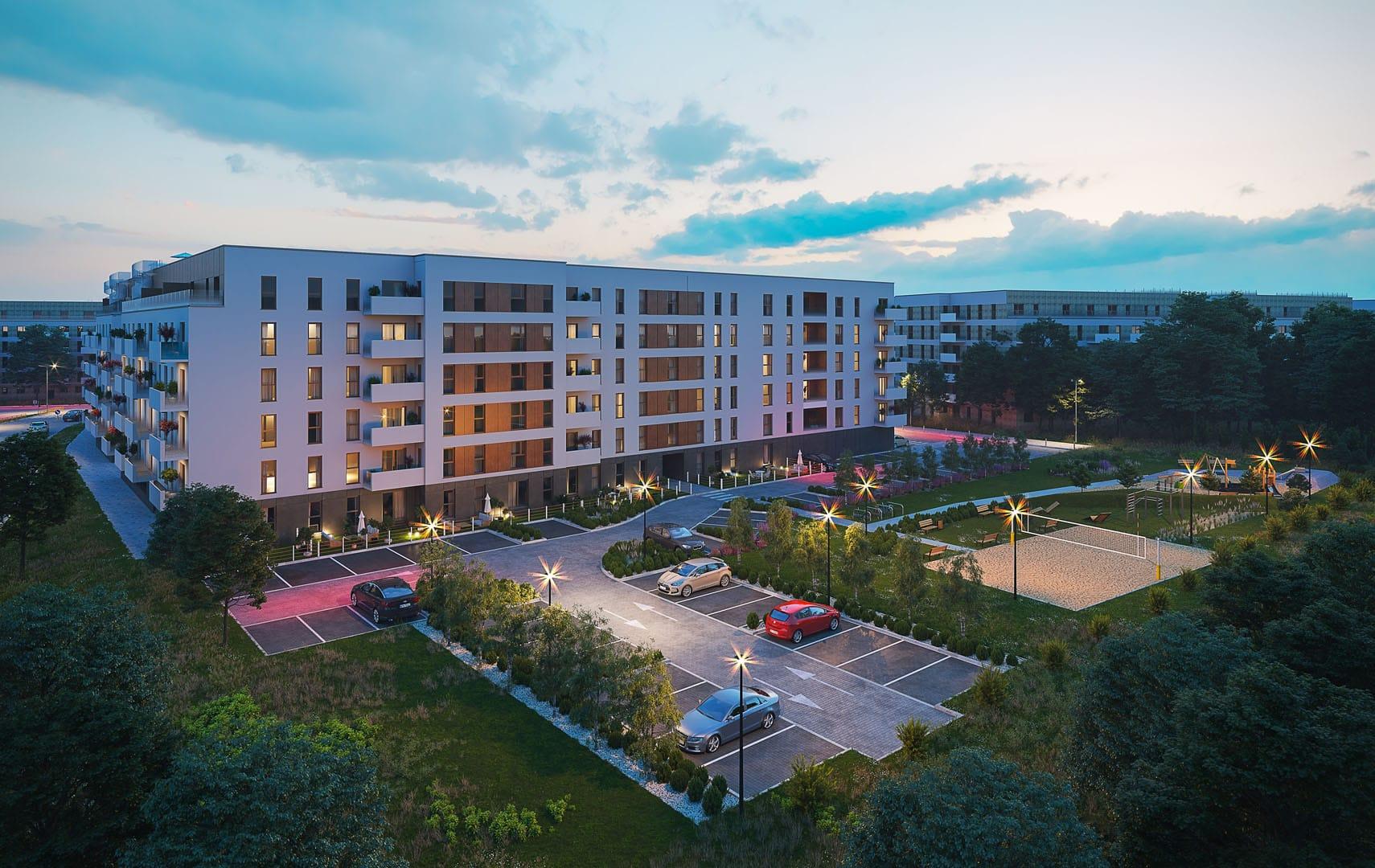 Soleil de Malta Budynek mieszkalny wielorodzinny Bouygues Immobilier Polska Poznań Widok z lotu ptaka Parking